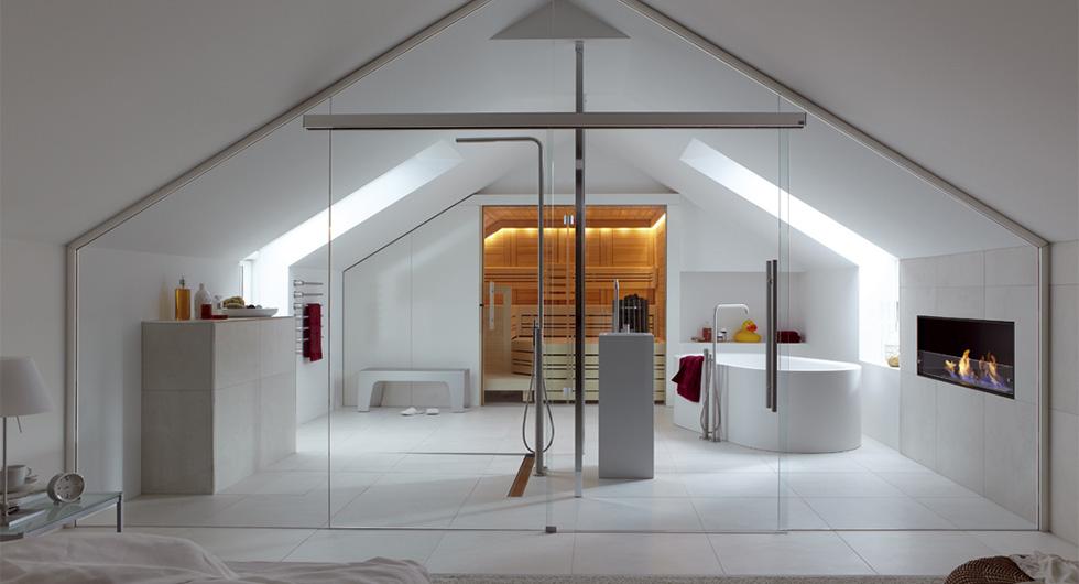 Badezimmer Glaswand mit Schiebetüren aus Glas alks Raumteiler fürs Bad